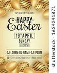 easter party flyer. scattered... | Shutterstock .eps vector #1634241871