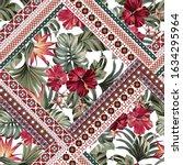 exotic tropical flowers in... | Shutterstock . vector #1634295964