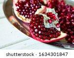 Ripe Pomegranate Fruits And...