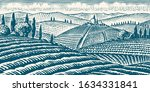 fields and hills of tuscany.... | Shutterstock .eps vector #1634331841