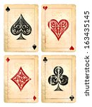 grunge poker cards vector set.... | Shutterstock .eps vector #163435145