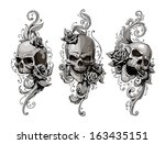 skulls with floral patterns... | Shutterstock .eps vector #163435151