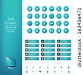 set of buttons for a website.... | Shutterstock .eps vector #163436471