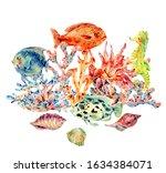 Watercolor Vintage Sea Life...