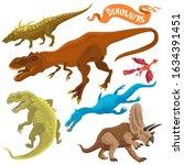 Dinosaurs Isolated On White...