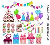 set of birthday party elements | Shutterstock .eps vector #163439999