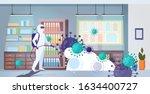 specialist in hazmat suit... | Shutterstock .eps vector #1634400727