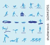 winter sports icon set | Shutterstock .eps vector #163441931