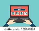 vector internet shopping. flat... | Shutterstock .eps vector #163444064