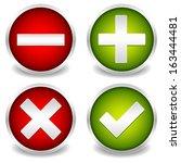 plus  minus and tick  cross... | Shutterstock .eps vector #163444481