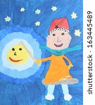 Small photo of children watercolor painting: girl with lantern on martinmas day