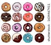 set of donuts. sweetshop... | Shutterstock .eps vector #1634467411