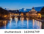 St. Peter's Basilica at dusk in Rome, Italy - stock photo