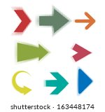 set of halftone design arrows.... | Shutterstock .eps vector #163448174