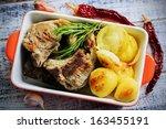 lamb chops   grilled lamb chops ... | Shutterstock . vector #163455191