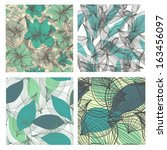 set of 4 seamless floral... | Shutterstock .eps vector #163456097