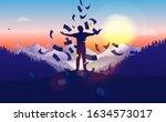 raining money on man. person on ... | Shutterstock .eps vector #1634573017