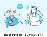 couple talking on phone vector...   Shutterstock .eps vector #1634607544