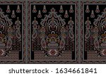 seamless paisley border on...   Shutterstock . vector #1634661841
