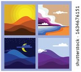 minimalist landscape color... | Shutterstock .eps vector #1634676151