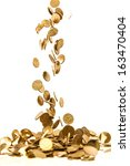 falling gold coins isolated on... | Shutterstock . vector #163470404