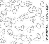 hearts seamless vector doodles... | Shutterstock .eps vector #1634731684