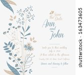 wedding invitation  wild flowers | Shutterstock .eps vector #163473605