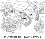 mermaid  wrecked ship and... | Shutterstock .eps vector #1634759971