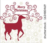 christmas card with reindeer | Shutterstock .eps vector #163480469
