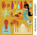 india  landmarks  symbols and... | Shutterstock .eps vector #163482857