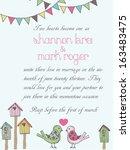 bird wedding invitation  | Shutterstock .eps vector #163483475