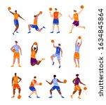 basketball players with ball  ... | Shutterstock .eps vector #1634845864