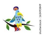 parrot cartoon vector... | Shutterstock .eps vector #163493849