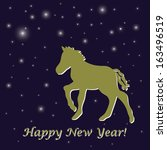 night blue new year's greeting... | Shutterstock .eps vector #163496519