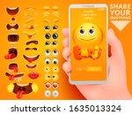 3d diy set on yellow backdrop.... | Shutterstock .eps vector #1635013324