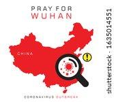 pray for wuhan poster  for... | Shutterstock .eps vector #1635014551