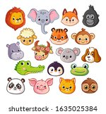 vector set with animals in... | Shutterstock .eps vector #1635025384