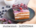 Berry Cake With Milk Cream And...