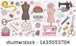 vector hand drawn sewing retro... | Shutterstock .eps vector #1635053704