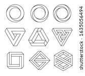 set of impossible shapes ... | Shutterstock .eps vector #1635056494