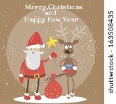 postcard. vector. santa claus... | Shutterstock .eps vector #163508435