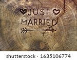 just married. an inscription on ... | Shutterstock . vector #1635106774