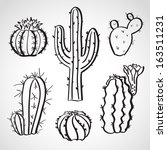 ink style hand drawn sketch set ... | Shutterstock .eps vector #163511231