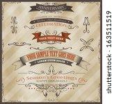 vintage invitation and season's ... | Shutterstock .eps vector #163511519