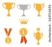 trophy and awards icons set. | Shutterstock .eps vector #163514654