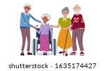 happy old couples. elderly afro ... | Shutterstock .eps vector #1635174427