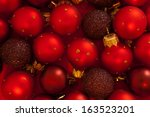 red christmas baubles  | Shutterstock . vector #163523201