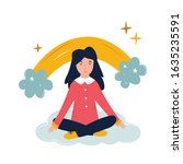 positive young girl sitting on... | Shutterstock .eps vector #1635235591