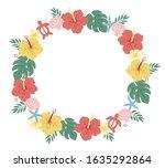 hand drawn pretty hibiscus frame   Shutterstock .eps vector #1635292864