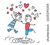 lovers boy and girl jump... | Shutterstock .eps vector #1635295354